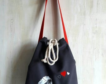 "Shoulder bag ""Seemannsgarn"" girl with heart"