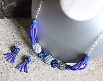 Blue Summer Necklace and Earrings Set
