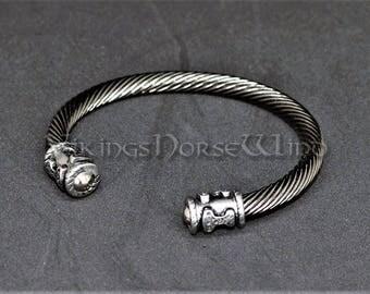 Viking Bracelet Mjolnir Bracelet, Viking Torque Bracelet, Ragnar Bracelet Thor's Hammer Torc Bracelet, Viking Jewelry, Asatru, Norse