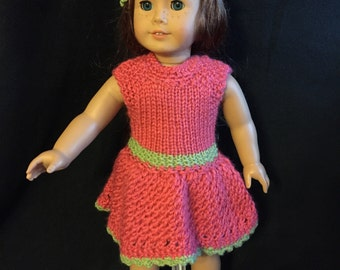 American girl doll knitted hot pink  outfit