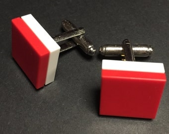 Lego cuff links - Red on White
