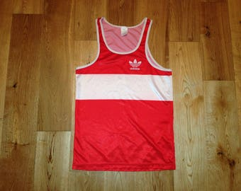Adidas Tank Top / Singlet Sleeveless made in Ireland - 80s Vintage Retro