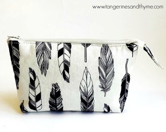 Navy Feathers on Cream Essential Oil Pouch Essential Oil Bag, Makeup Bag, Zippered Pouch, Zippered Bag, Toiletry Bag, Cosmetic, Coin Purse