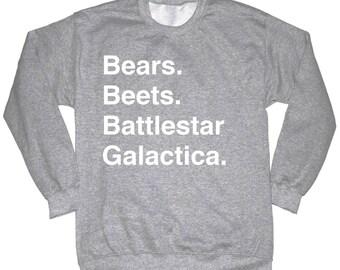 Bears Beets Battlestar Galactica Shirt The Office Sweatshirt Crewneck Dwight You Ignorant Slut Shirt Dwight Schrute Shirt Dunder Mifflin
