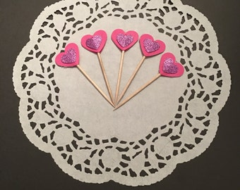 12 Pink Heart Cupcake Toppers