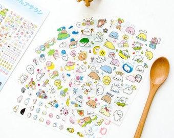 6 Sheets Set ~ Mamegoma Cute Cartoon Stickers, PVC Stickers, Kawaii Stickers, Seal Stationery, DIY Scrapbooking, Cute Seal, Cartoon Stickers