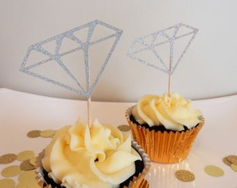 12 x Silver Diamond Glitter Cupcake Toppers - Double side. Wedding Engagement Decorations, Handcrafted