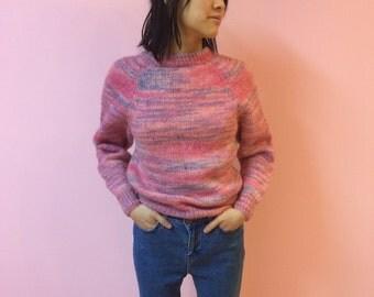 90s Pastel Soft Grunge Pink Blue Purple Sweater - XS SMALL/SMALL - Women