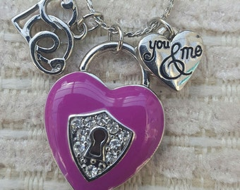 Silver heart pendant necklace, pink or silver charms