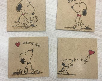 Wood Coasters Snoopy, Snoopy coffee coasters, set of 4,pyrography coaster,Shop owner gift,Students gifts,Housewarming gift K072