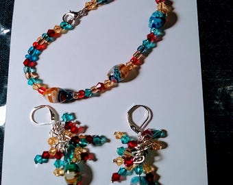Bright Colored Lampwork Beads and Crystals Bracelet and Earring set