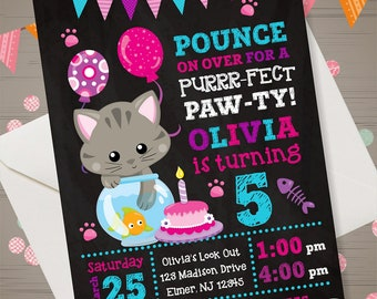 KITTY Invitation Kitty Birthday Party Kitty Birthday Invitation Cat Chalkboard Invitation Cat Birthday Party Kitten Invitation Kitty Invite