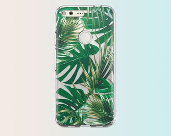 Tropical Google Pixel XL Case Leaves Google Pixel Case Clear Case Banana Leaf Phone Case Silicone Case Transparent Phone Case Palm Tree 016