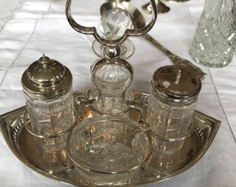 Silver Plate and Glass Cruet Set. Cruet Set. Silver mustard Spoon