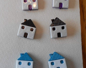 House Shaped Snap Together Buttons Set of 6