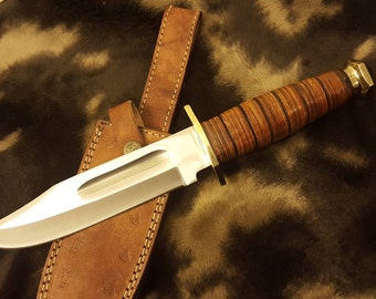 "Custom handmade Hunting Bowie Knives, 440c stainless Steel , Sharp knife ,Best Man Gift ""12"" XT4"