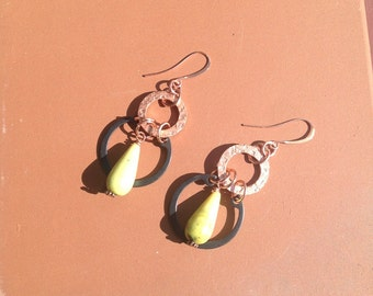 Serpentine and hand forged copper earrings