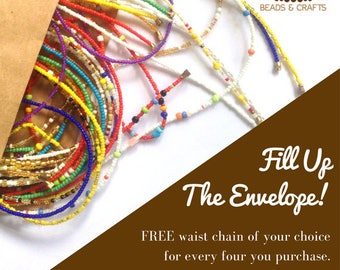FREE Waist Beads - Belly Chain - Belly Beads - Purchase 4, Get 5 chains - African Waist Beads