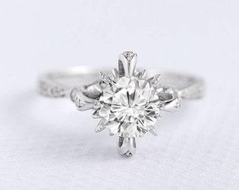 Unique Forever One Forever Brilliant Moissanite Ring White Gold Engagement Ring Split Shank Eternity Milgrain Flower Art Deco Anniversary