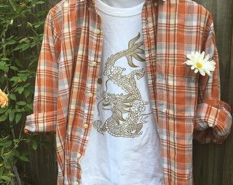 burnt orange and white Flannel