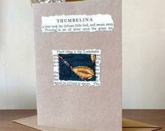 Handmade greetings card upcycled book and sari fabric