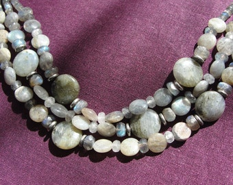 Labradorite multi strand necklace and earring set.