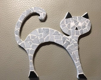 Little gray and black cat in mosaic, mosaic's cat grey