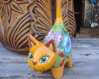 Talavera Friendly  Cuttie Cat  Handpainted Handmade Home Decor Mexican Talavera Ceramic Art