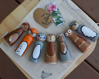 Woodland Animal Peg Doll Set 7 Piece, Wooden Toddler Toy, Waldorf Toy, Heirloom Toy, Wooden Peg Doll, Wooden Toys, Forest Animal Toys
