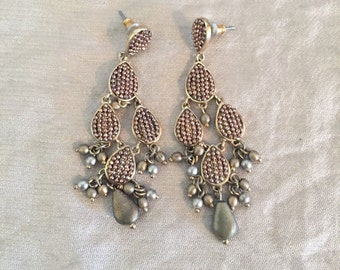 Vintage Rose Gold Beaded Cluster Dangle Drop Earrings