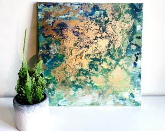 Abstract painting ' Golden Meadow', ORIGINAL, acrylic on canvas, free shipping, green, blue, gold, landscape, meadow, pasture, metallic