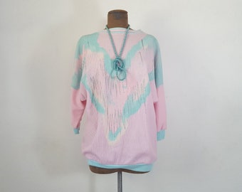 Oversized top / fairy kei vintage / pastel grunge clothing / light pink and baby blue ribbed shirt / loose fit top / M