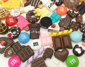Chocolate Cabochon Mix (10 pcs / 30 pcs by Random) Kawaii Fake Food Resin Polymer Clay Cabochons