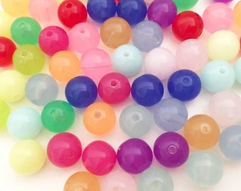 10mm Crystal Round Beads - Assorted Colors Small Beads Resin Jewelry Making Craft Supplies
