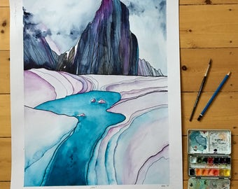 Original drawing watercolor - Alaska