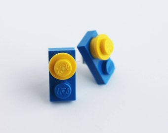 Blue and Yellow Stud Earrings