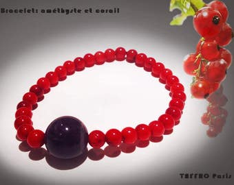 Handmade Bracelet: Amethyst, coral.