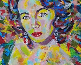 Elizabeth Liz Taylor Original Acrylic portrait painting in unique abstract pop art style