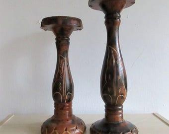 Vintage Candle Holders, Vintage Wood Pillar Candle Holders, Wood Candle Stick Holders, Natural Candle Holders, Wood Pillar Holders