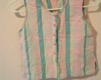 Vintage 1980s-1990s Striped Cotton Crop Button Sleeveless Womens Heshy