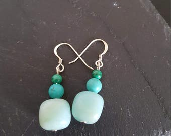 Handmade Jade, turquoise and malachite earrings
