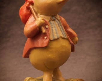 Anri Beatrix Potter Pigling Bland Carved Wood Figure