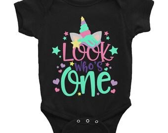 First Birthday Onesie - First Birthday Shirt - 1st Birthday Shirt Onesie - Look who's One - Unicorn Shirt - Unicorn Onesie