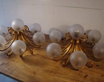 Lot 2 6 arms bronze lamps + light Central 70s / 70's Lot 2 Bronze Lamps 7 Lights.