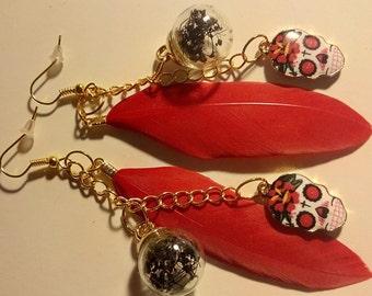 Feather Skull Glass Globe Earrings
