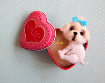 Maltese Felt brooch dog Maltese pet portrait jewelry Needle felted animal Miniature Pet loss gifts Personalized Pet Dog lover gifts Memorial
