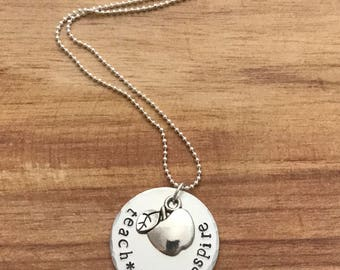 Hand stamped necklace for teacher - teach love inspire necklace - gift for teacher - apple necklace - inspirational necklace