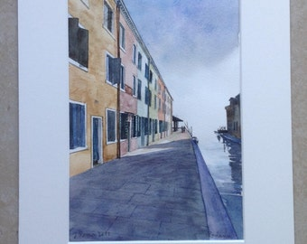 Burano watercolor painting watercolor painting waterverf aquarel