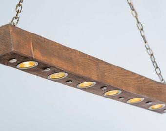 Solid Wood Led Beam Light Suspended Minimalist Modern Bar