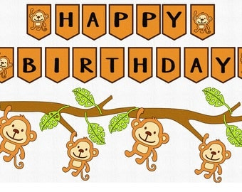 Happy Birthday Monkey Banner